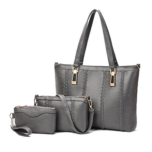 (3pcs) HeHe Art und Weise PU Leder Handtasche + Schultertasche + Geldbeutel 3pcs Beutel Grau