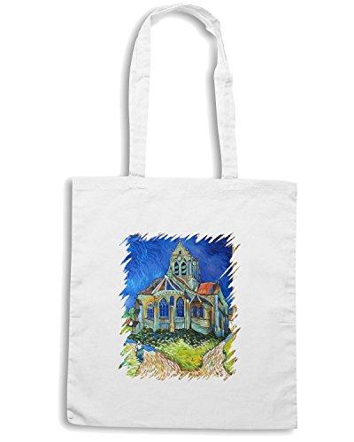 T-Shirtshock - Borsa Shopping TDA0127 van gogh130 la chiesa di auvers sur oise Bianco