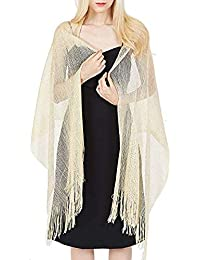 Ziory 1 Pc Golden Tassels Scarf Evening Party Wedding Ceremony Bridesmaid Dress Womens Evening Wrap Stole For Wedding, Parties, Bridesmaid,Prom Scarf with Fringe Wrap Stole and Scarves for Girls, Women
