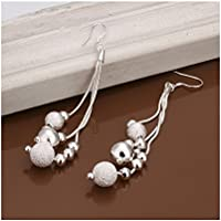 Leyu Fashion Wang oro bianco placcato Bella Shinning sfera in rilievo nappe oscillare Orecchini