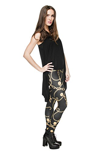 Leggings für Damen/Mädchen, mit 3D-Grafik, elastisch - Gold Chain