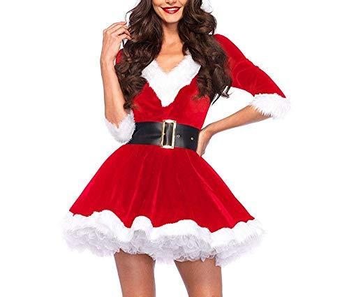 Disfraz Fever de Mamá Noel, Disfraz de Navidad Mujer Vestido Rojo de Terciopelo Princesa Traje de Santa Mamá Noel Fiesta Chicas Cosplay Christmas Ropa de Navidad Adulto (Rojo, L)