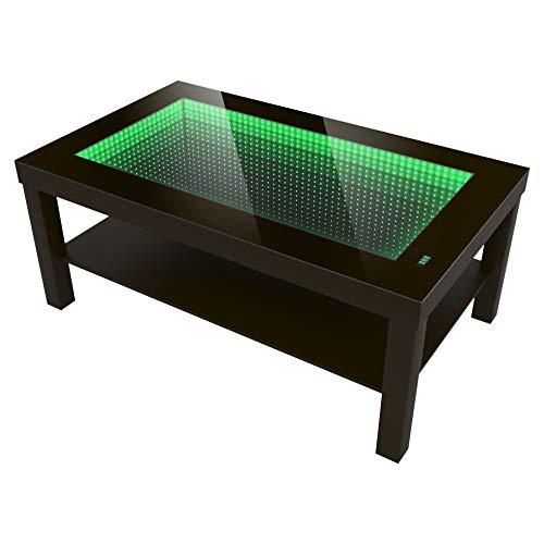 Modern Couchtisch Kaffeetisch LED Beleuchtet mit 3D Effekt, Batteriebetrieben (90cm x 55cm x 45cm) Farbe - Wenge