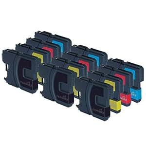 12 Cartouche d'encre Compatibles pour Imprimante Brother DCP 195C - Cyan / Magenta / Jaune / Noir