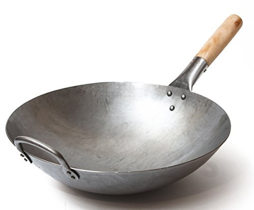Wok traditionnel en acier carbone martelé à la main avec poignée auxiliaire en bois et acier (diamètre 35,6 cm, fond...