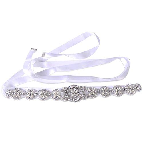 Brautgürtel Taillenband Damen Gürtel Abendkleidgürtel Strass Perlen Weiß Ivory Damengürtel Perlengürtel Satinband Satin Band (Ivory)