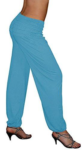 S&LU tolle Damen Haremshose, Pluderhose in 5 Größen/Kurzgrößen - !NEU! Jetzt auch im Camouflage-/Tarn-Design !NEU! - von XXS bis XXXXXXL (6XL) wählbar (Einheitsgröße XXS-M, Karibik-Blau)