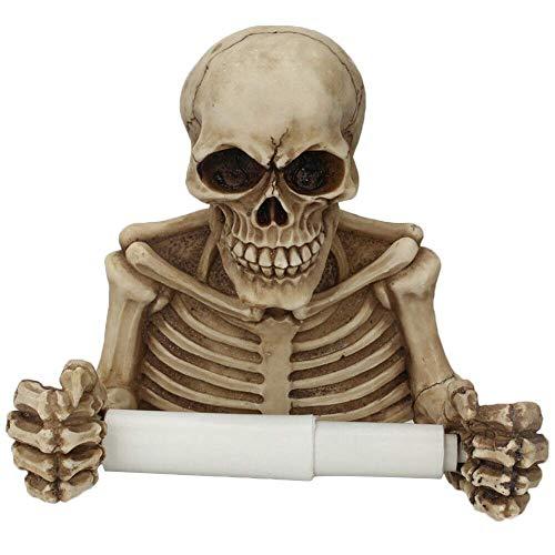 Lumon Toilettenrollenhalter, Totenkopf Toilettenpapier Rollen Halter Handtuch Rack, Wandhalterung Toilettenpapier Halter Trocken Handtuch für Badezimmer Heim Toilette Halloween Dekor