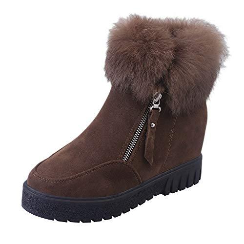 VECDY Damen Stiefeletten,Schuhe Stiefel Booties Seitlicher Reißverschlussstiefel Schneeschuhe Plus Samtverstärkungsstiefel Rutschfeste warme Stiefel - Mantel Grün-michael Kors