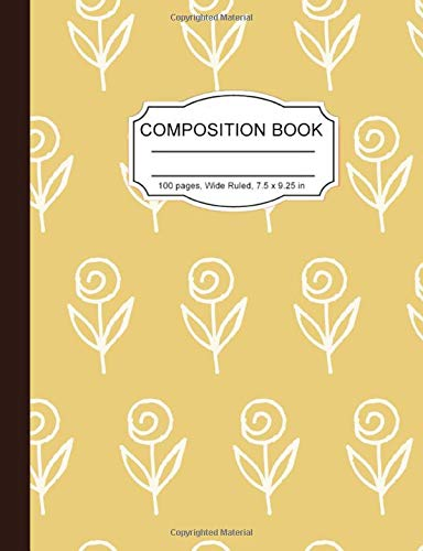Composition Notebook: Abstract Rose Floral Pattern White Beige Wide Ruled Paper Notebook Journal for Women Homeschool Office Teacher Adult 7.5 x 9.25 in. 100 Pages -