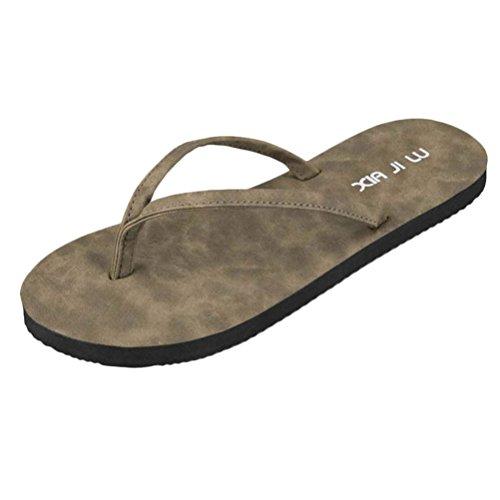 Zhuhaitf Haute qualité Unisex Adults Beach Comfortable Flat Shoes Fashion Non-slip Slippers brown