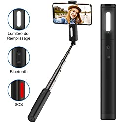 Yoozon Perche Selfie avec LED Lumière, Mini Bâton Selfie Extensible Tout en Un avec Télécommande Bluetooth Inrégré, Selfie Stick Monopode pour iOS et Android, comme iPhone, Samsung, Huawei, LG, etc.
