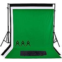 Phot-R 3x3m regolabile di sostegno del contesto schermo Heavy Duty professionale Photo Video Studio Tribuna Sfondi Sistema Kit 3x 3mx6m Nero Bianco Chroma key verde-non-tessuto 3 clip mussola Carry Bag