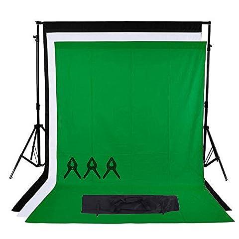 Phot-R 3x3m réglable Support écran Backdrop Heavy Duty Professional Photo Studio Stand de système Kit 3x 3mx6m Noir Blanc Chroma Clé verte Fond non-tissé 3 Muslin Clips Carry Bag