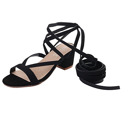 KonJin Women Sandals Heels Summer Knee Gladiator Sandal Ankle Elastic Band Hollow Out Open Toe Wedges Shoes - Pointy Toe Knee High Boots