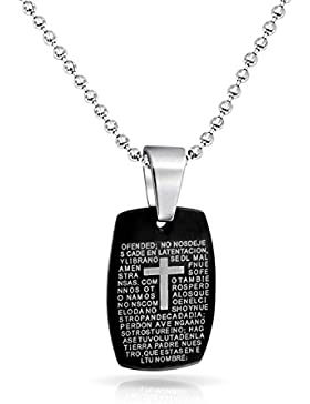 Kids Stainless Steel Lords Prayer Black Dog Tag Pendant 16in