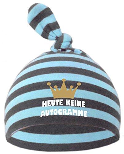 Baby Zipfel Mütze gestreift (Farbe hellblau-grau) (Gr. 1 (0-74) Heute keine Autogramme