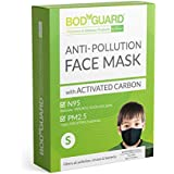 BodyGuard N95 + PM2.5 Anti Pollution Face Mask with 5 Layers Protection Activated Carbon, Nose Clip for Better Fit - Small (Pack of 1)