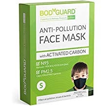 BodyGuard Reusable Anti Pollution Face Mask with Activated Carbon, N95 + PM2.5 for kids - Small (Black)