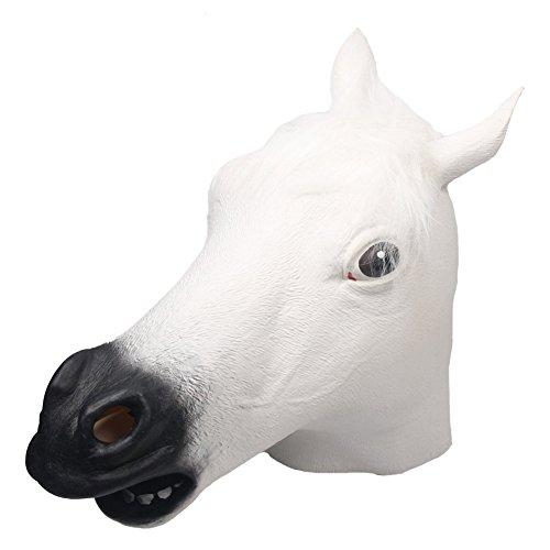 Pferd Weißes Kostüm - Queenshiny® Latex Pferd Maske Halloween-Party Kostüm (Weiß)