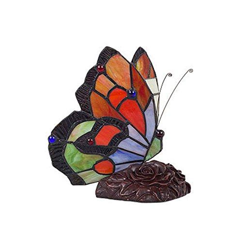 Hanamaki Tiffany Style Butterfly Tischlampe - Glasmalerei Nachtlicht - 20 cm (Tischlampe Bronze Schmetterling)