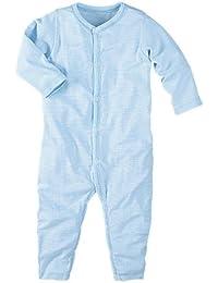 wellyou, Schlafanzug, Pyjama für Jungen und Mädchen, Einteiler langarm, Baby Kinder, hell-blau weiß gestreift, geringelt, Feinripp 100% Baumwolle, Größe 56-134