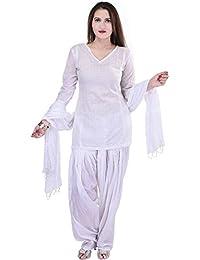 JAIPUR FASHION HUB Women's/Girl's 100% Pure Cotton Semi Patiyala salwar Pant With Dupatta Set (Free Size____White)