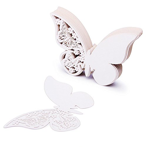 50tarjetas con forma de mariposa para escribir el nombre de los comensales de una boda, colocar en copas de vino