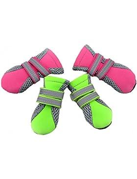 Ecloud Shop® Mascota del perrito del animal doméstico Botas zapatos de malla transpirable suela de goma antideslizante...