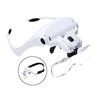 aokur Head Mounted Lighted Magnifying Glasses for Reading/Jewellery Loupe/Watch and Electronic Repair with 5 Detachable Lenses (Upgraded Version)