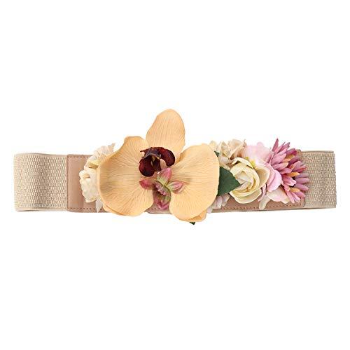 Amosfun Cinturones de Novia de Flores Cinturón elástico Ancho para Mujeres niñas (Caqui)