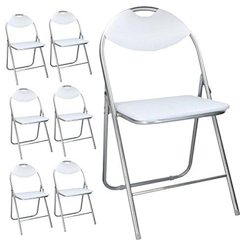 Bakaji set 6 sedie pieghevoli imbottite salvaspazio con struttura in metallo cromato e piedini antiscivolo sedia metal (bianco)