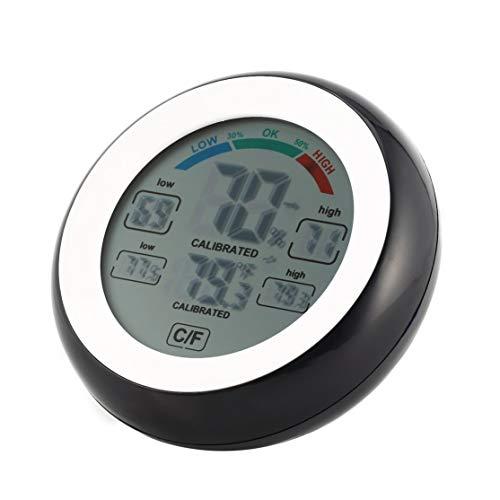 Preisvergleich Produktbild LouiseEvel215 Runder LCD-Touchscreen Innentemperatur-Hygrometer Wetterstation Digitale Hintergrundbeleuchtung Touchscreen Stempeluhr-Thermometer