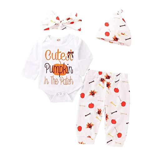 Bright_99 4er Mädchen Halloween Strampler Kleider Playsuit Romper Jumpsuit Türkei mit Kürbis + Hose + Hut + Haargurt (Weiß, 0-6Monate)