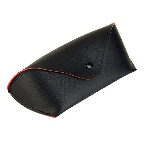 Magideal Enveloppe Verres De Lunettes De Soleil En Cuir Cas Senti Bordée Couvercle Noir Poinçon