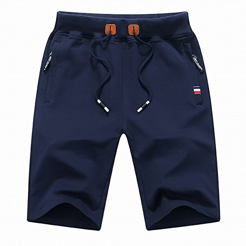 WDDGPZDK Strand Shorts/Mens Cotton Shorts Sommer Atmungsaktiv Männlichen Solide Gummizug Gelegenheitsarbeit, Kurze Hosen Mode Knie Länge M-4Xl, Dark Blue, XXXL