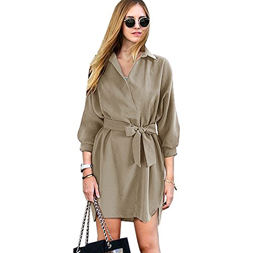 Frauen Casual V-Ausschnitt High-Low Saum 3/4 Batwing Ärmel Button Down Boyfriend Elegantes Hemd Kleid mit Gürtel - VENA ( M , grau ) (Damen Kleid Batwing Ärmel)