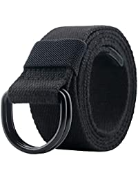 Canvas Belt Men with Black Double D-ring Buckle Web Military Tactical Belt for Mens