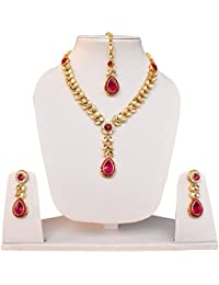 Fascraft Leaf Drop Style Kundan Necklace Set With Mang Tika On Gold Finish