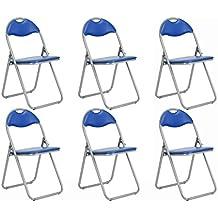 Conjunto de 6silla de oficina plegable acolchado de piel sintética comedor asiento azul