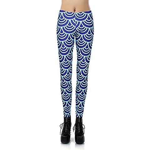 Blu scuro stampa digitale Slim pantaloni leggings collant onde elastiche