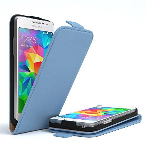 Samsung Galaxy Grand Prime Hülle - EAZY CASE Premium Flip Case Handyhülle - Schutzhülle aus Leder zum Aufklappen in Anthrazit Hellblau