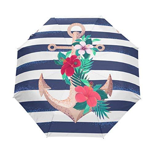 rodde Regenschirm-Weinlese-Ozean-Seeblumenblumen-Anker-gestreifter Auto-offener naher Sonnen-Regen-Regenschirm -