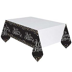 Amscan 9900549, Mantel de Plástico para Mesa, Diseño Cumpleaños (Happy Birthday), 137 x 259 cm