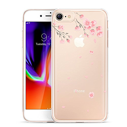 Verdickt Apple (ESR iPhone 8 Hülle, iPhone 7 Hülle, Transparent [Weich Silikon][Ultra Dünn] mit süßes Motiv Schutzhülle für Apple iPhone 8/7 4.7 Zoll 2017 Freigegeben. (Kirschblüte))