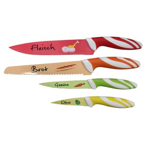 TOP STAR Messerset mit Motiven, 4 - teiliges Messerset aus hochwertigem Edelstahl, Brotmesser, Fleischmesser, Gemüsemesser, Obstmesser, rostfreies Set für jeden Haushalt, leicht zu reinigen