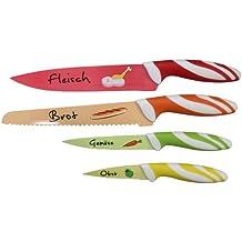Top Star Messerset, 4 - teiliges Messerset aus hochwertigem Edelstahl, rostfrei, leichte Reinigung, Brotmesser, Fleischmesser, Gemüsemesser, Obstmesser - Set für jedenHaushalt - Küchenhelfer