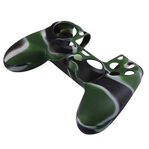Demiawaking Camouflage Silikon Gummi Kasten Haut Hüllen Abdeckungs Schutz für PS4 Controller (Weiss+Schwarz+Gruen) (Schutz Ps4)