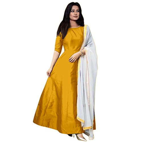 Dharmi One Pices Designer Fancy Partywear Wedding Indo - Westren Yellow Color Gown For Women And Girls partywear lehenga choli for women
