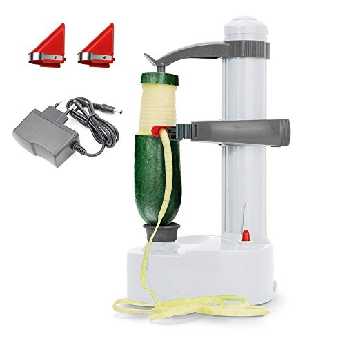 (KKWLELEL Elektro-Kartoffelschäler [2 Extra Klingen] - Automatische rotierende Früchte & Gemüse Cutter Apple Schälmaschine - Kitchen Peeling Tool)